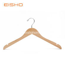 EISHO Natural Wooden Shirt Hangers With Notches
